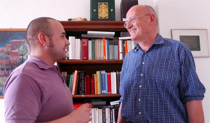 Besuch bei einem humorvollen Mann: Gottfried Ensslin 2012 mit dem Autor dieses Artikels